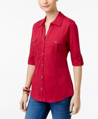 Image of Style & Co Utility Shirt, Only at Macy's