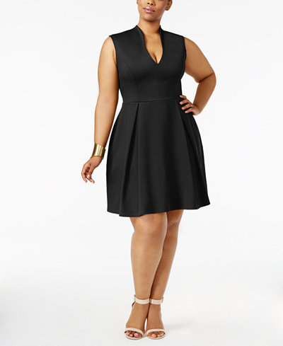 Soprano Trendy Plus Size Pleated Fit Amp Flare Dress