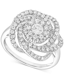 Diamond Ring, 14k White Gold Diamond Pave Knot Ring (1 ct. t.w.), Created for Macy's