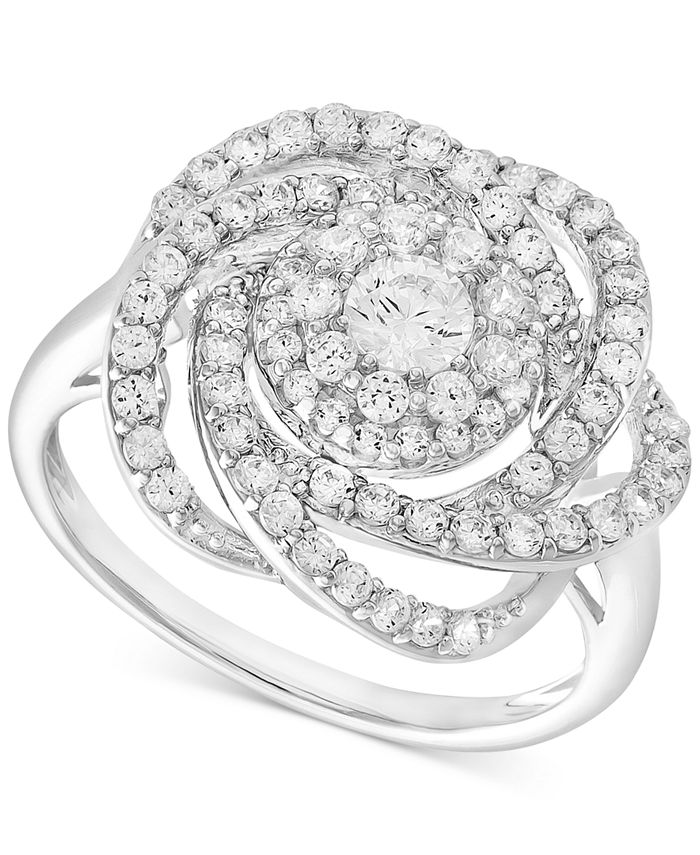 Wrapped in Love - Diamond Ring, 14k White Gold Diamond Pave Knot Ring (1 ct. t.w.)