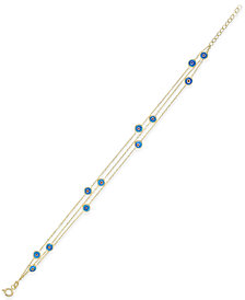 Evil-Eye Triple Chain Bracelet in 14k Gold