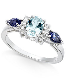 Multi-Gemstone (1-1/8 ct. t.w.) & Diamond (1/8 ct. t.w.) Ring in 14k White Gold