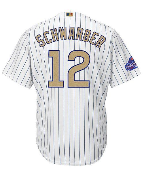 754bedbf9e1 ... Majestic Men s Kyle Schwarber Chicago Cubs World Series Gold Replica CB  Jersey ...
