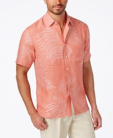 Leaf Jacquard Silk Linen Blend Short-Sleeve Shirt, Created for Macy's