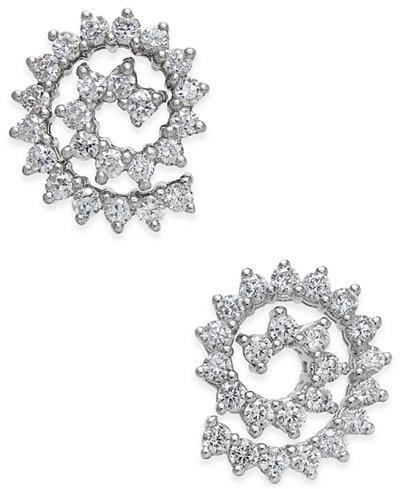 Diamond Spiral Stud Earrings (1 ct. t.w.) in 14k White Gold