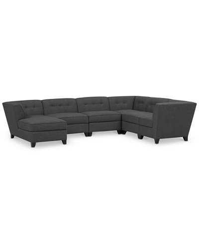 Harper Fabric 6 Piece Modular Sectional With Chaise