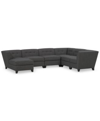 Harper Fabric 6-Piece Modular Sectional with Chaise Created for Macyu0027s  sc 1 st  Macyu0027s : charcoal sectional with chaise - Sectionals, Sofas & Couches