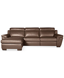 CLOSEOUT! Julius 3-pc Leather Sectional Sofa with Chaise and 1 Power Recliner, Created for Macy's