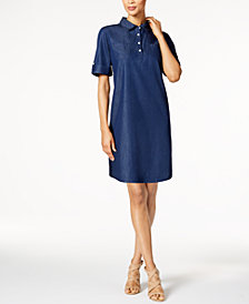 Karen Scott Petite Chambray Dress, Created for Macy's