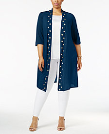 Belldini Plus Size Grommet Duster Cardigan