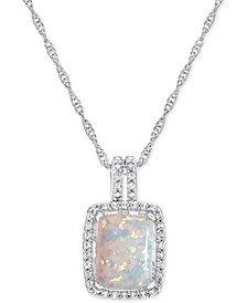 Lab-Created Opal (7/8 ct. t.w.) and White Sapphire (1/2 ct. t.w.) Pendant Necklace in Sterling Silver