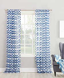 "Lichtenberg No. 918 Silvia 50"" x 84"" Chevron-Print Sheer Rod Pocket Curtain Panel"