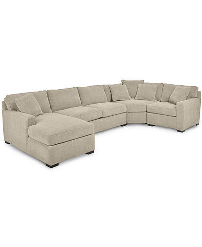 Radley 4 piece fabric chaise sectional sofa furniture for 5 piece sectional sofa with chaise