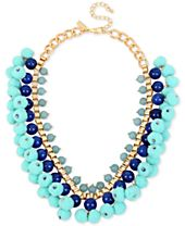 M. Haskell for INC International Concepts Gold-Tone Stone & Pom-Pom Statement Necklace, Created for Macy's