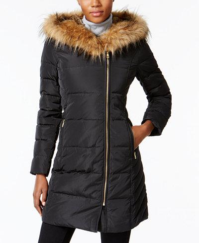 Cole Haan Signature Faux Fur Trim Asymmetrical Puffer Coat