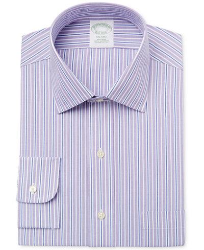Brooks Brothers Men's Milano Extra-Slim Fit Non-Iron Purple Striped Dress Shirt