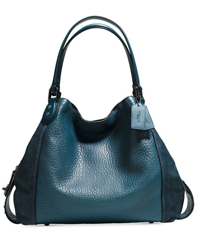 COACH Edie Shoulder Bag 42 in Mixed Leathers with Star Rivets