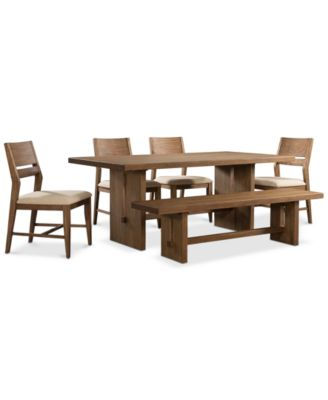Athena 6-Pc. Dining Set (Dining Trestle Table, 4 Side Chairs & Bench)