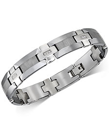 Esquire Men's Jewelry Diamond Link Bracelet (1/8 ct. t.w.) in Tungsten, Created for Macy's