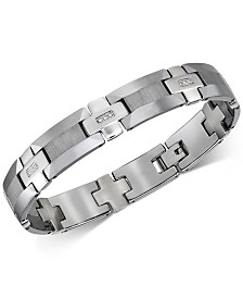 Esquire Men's Jewelry Diamond Link Bracelet (1/8 ct. t.w.) in Tungsten, Created for Macy's