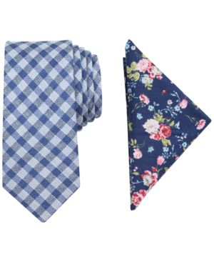 Tallia Men's Lorimer Check Slim Tie & Pocket Square Set thumbnail
