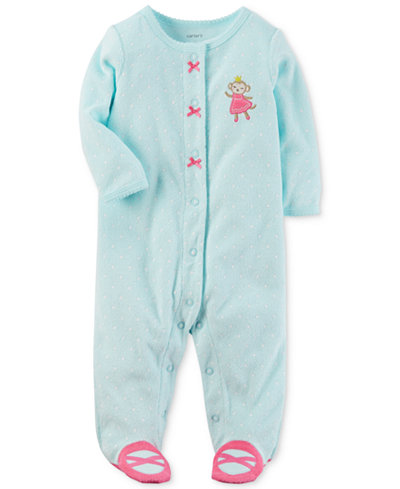 Carter's Baby Girls 1-Pc. Dot-Print Monkey Footed Terry Coveralls