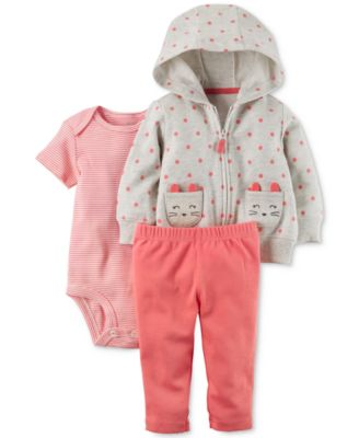 Image of Carter's 3-Pc. Dot-Print Cat Hoodie, Bodysuit & Leggings Set, Baby Girls (0-24 months)