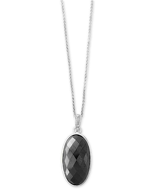 EFFY Collection EFFY® Hematite (28 x 15mm) Pendant Necklace in Sterling Silver