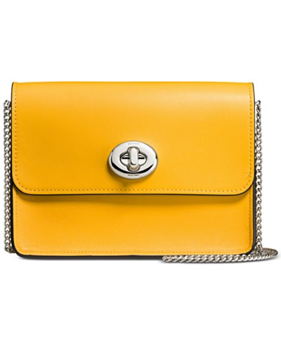 COACH Small Turnlock Chain Crossbody in Refined Calf Leather