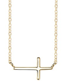 East-West Cross Pendant Necklace in Plated Sterling Silver