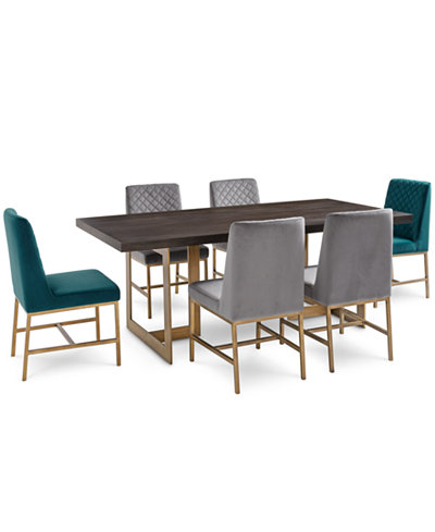 Cambridge Dining Furniture, 7-Pc. Set (Dining Table, 4 Gray Side Chairs & 2 Teal Side Chairs), Created for Macy's