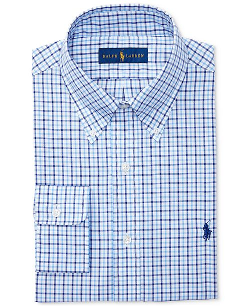 194fa2b10b52 Men's Classic/Regular Fit Pinpoint Cornflower Checked Oxford Dress Shirt