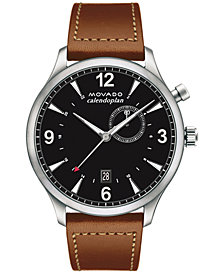 Movado Men's Swiss Heritage Series Calendoplan Cognac Leather Strap Watch 43mm