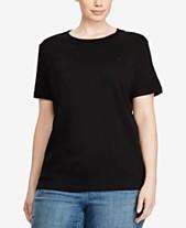 9c52b8316db Lauren Ralph Lauren Plus Size Ribbed Logo Crewneck T-Shirt. Quickview. 2  colors