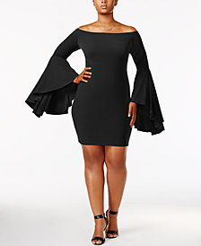 Soprano Trendy Plus Size Bell-Sleeve Dress