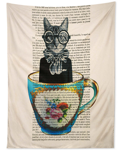 Deny Designs Coco De Paris Cat In A Cup Tapestry