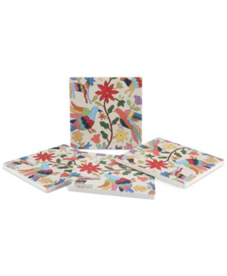 Otomi Embroidery 4-Pc. Coaster Set