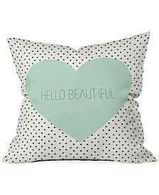 "Deny Designs Allyson Johnson Hello Beautiful Heart 16"" Square Throw Pillow"
