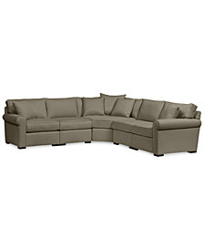"Astra 5-Pc. ""L"" Shaped Fabric Sectional - Custom Colors, Created for Macy's"