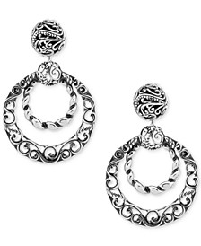 Filigree Gypsy Hoop Earrings in Sterling Silver