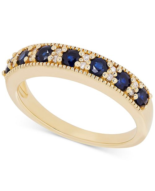Macy's Sapphire (3/4 ct. t.w.) and Diamond Accent Ring in 14k Gold