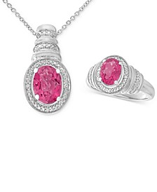Pink Topaz (3 ct. t.w.) & Diamond Accent Pendant Necklace and Matching Ring in Sterling Silver
