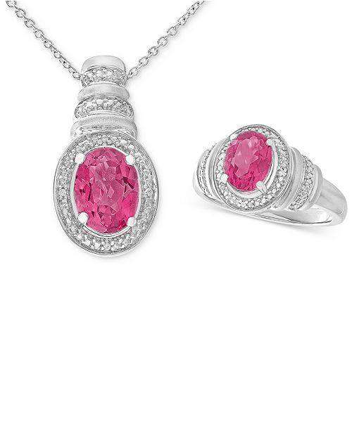 Macy's Pink Topaz (3 ct. t.w.) & Diamond Accent Pendant Necklace and Matching Ring in Sterling Silver