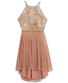 Rare Editions Lace & Mesh High-Low Dress, Big Girls