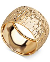 Italian Gold Textured Wide Dome Ring in 14k Gold