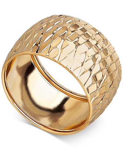 Italian Gold Textured Wide Dome Ring In 14k