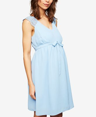A Pea In The Pod Maternity Lace-Trim A-Line Dress