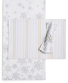 Martha Stewart Collection Winter White Table Linens Collection, Created for Macy's