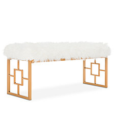 Mera Faux Sheepskin Bench, Quick Ship