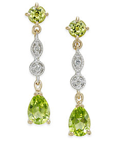Peridot (2-1/3 ct. t.w.) & Diamond Accent Drop Earrings in 14k Gold